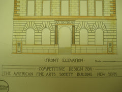 Competitive Design for the American Fine Arts Society Building , New York, NY, 1891, Gilbert & Taylor
