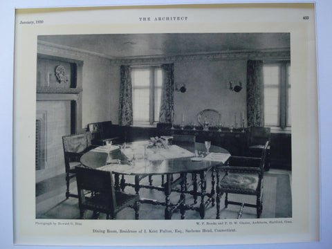 Dining Room in the Residence of I. Kent Fulton, Esq., Sachems Head, CT, 1930, W.F. Brooks and F.D. Glazier