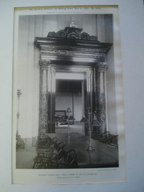 Doorway in Bates Hall: Public Library of the City of Boston, Boston, MA, 1895, McKim, Mead & White