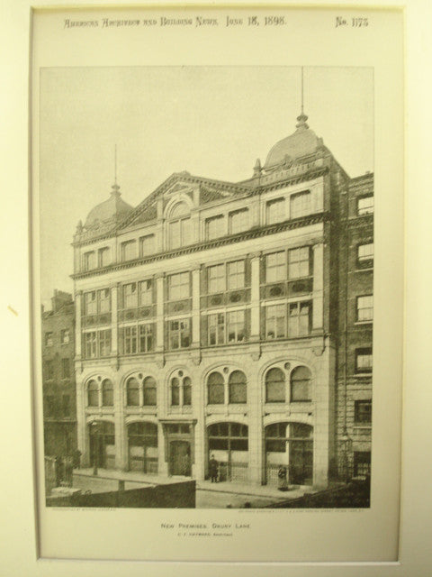 New Premises, Drury Lane, London, England, EUR, 1898, C.F. Hayward