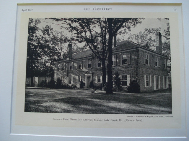 House of Mr. Lawrence Scudder, Lake Forest, IL, 1927, Litchfield and Rogers