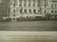Western Front of the Library of Congress, Washington, DC, 1897, Smithmeyer, Pelz & Casey
