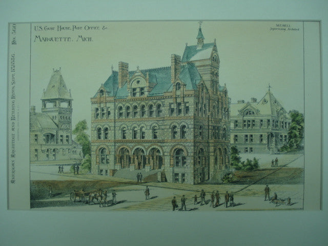 US Court House & Post Office , Marquette, MI, 1886, M. E. Bell
