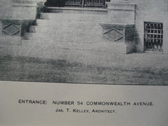 Entrance to Number 54 Commonwealth Avenue , Boston, MA, 1899, Jas. T. Kelley