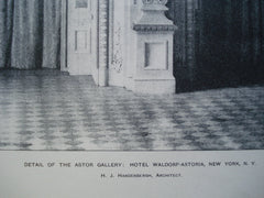 Detail of the Astor Gallery: Hotel Waldorf-Astoria, New York, NY, 1898, H.J. Hardenbergh