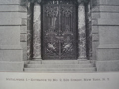 Metalwork I.- Entrance to No. 2, 52nd Street, New York, NY, 1900, Unknown