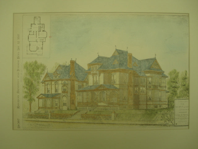 Dwelling for Mr. Wm. F. Lyon , Syracuse, NY, 1881, Kirby & Rate