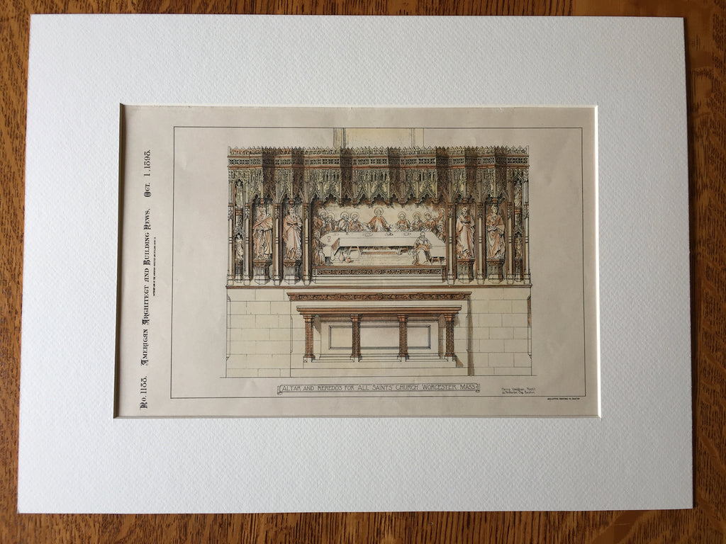 Altar & Reredos, All Saints Church, Worcester, MA, 1898, Original Hand Colored