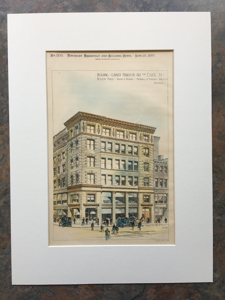 Building on Harrison Ave & Essex St, Boston, MA, 1897, Original Hand Colored