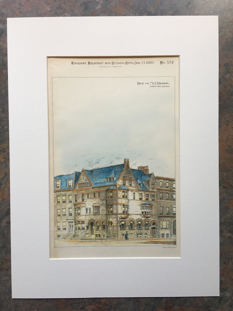 House for E P Bradbury, Marlborough St, Boston, MA, 1886, Original Hand Colored