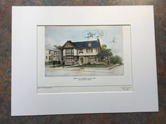 House, W H Bowdlear, Roxbury, MA, 1904, Original Hand Colored
