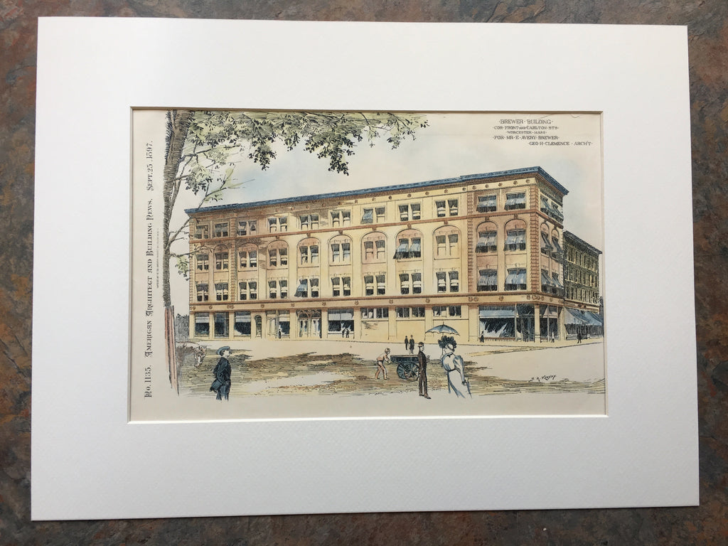 Brewer Building, Front and Carlton, Worcester, MA, 1897, Original Hand Colored
