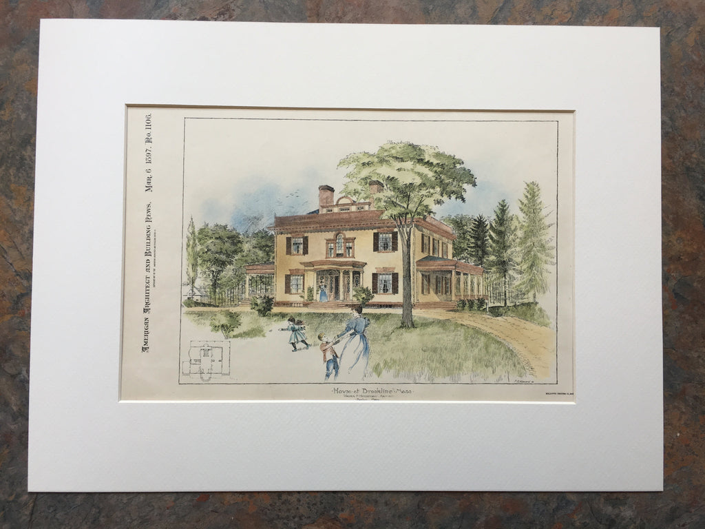 House at Brookline, MA, 1897, Walter Henderson, Original Hand Colored