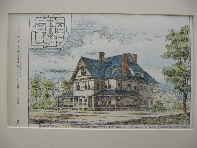 Connected Houses for E. W. Lincoln, Worcester, MA, 1880, Stephen C. Earle