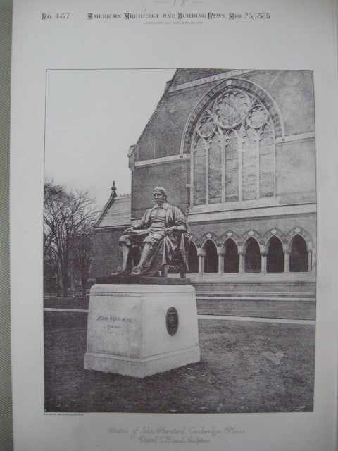 Statue of John Harvard, Cambridge, MA, 1885, Daniel C. French