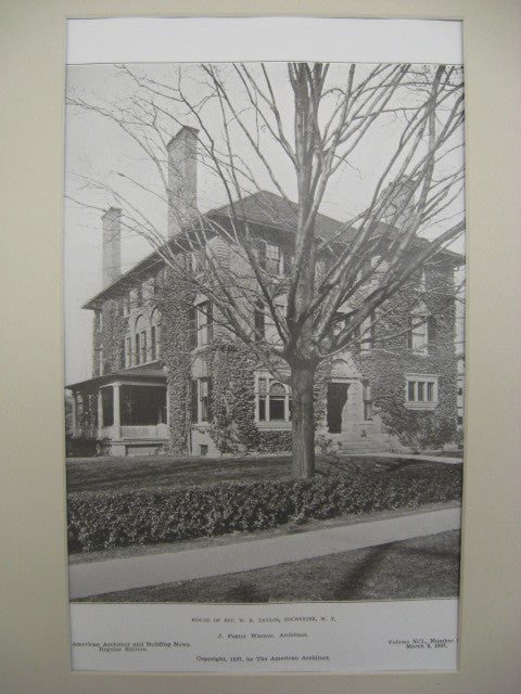 House of Rev. W. R. Taylor, Rochester, NY, 1907, J. Foster Warner