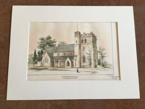 Copy of St Johns Church, Boulder, CO, 1901, H M Congdon, Original Hand Colored -
