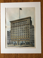 F L Ames Estate, Boylston St, Boston, MA, 1900, C H Blackall, Original Hand Colored