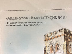 Arlington Baptist Church, MA, 1902, Original Hand Colored