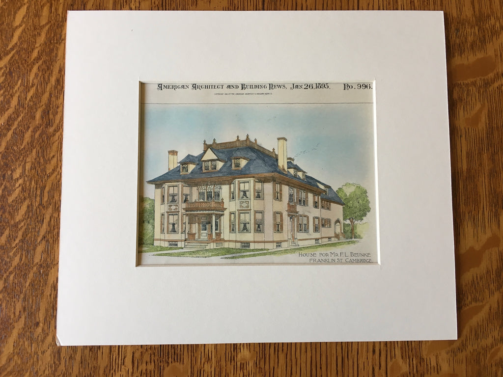 House for F L Beunke, Franklin St, Cambridge, MA, 1895, Original Hand Colored