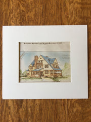 House for W P Burbank, Pittsfield, MA, 1887, Original Hand Colored