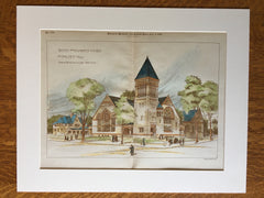 New Baptist Church, Malden, MA, 1889, Original Hand Colored