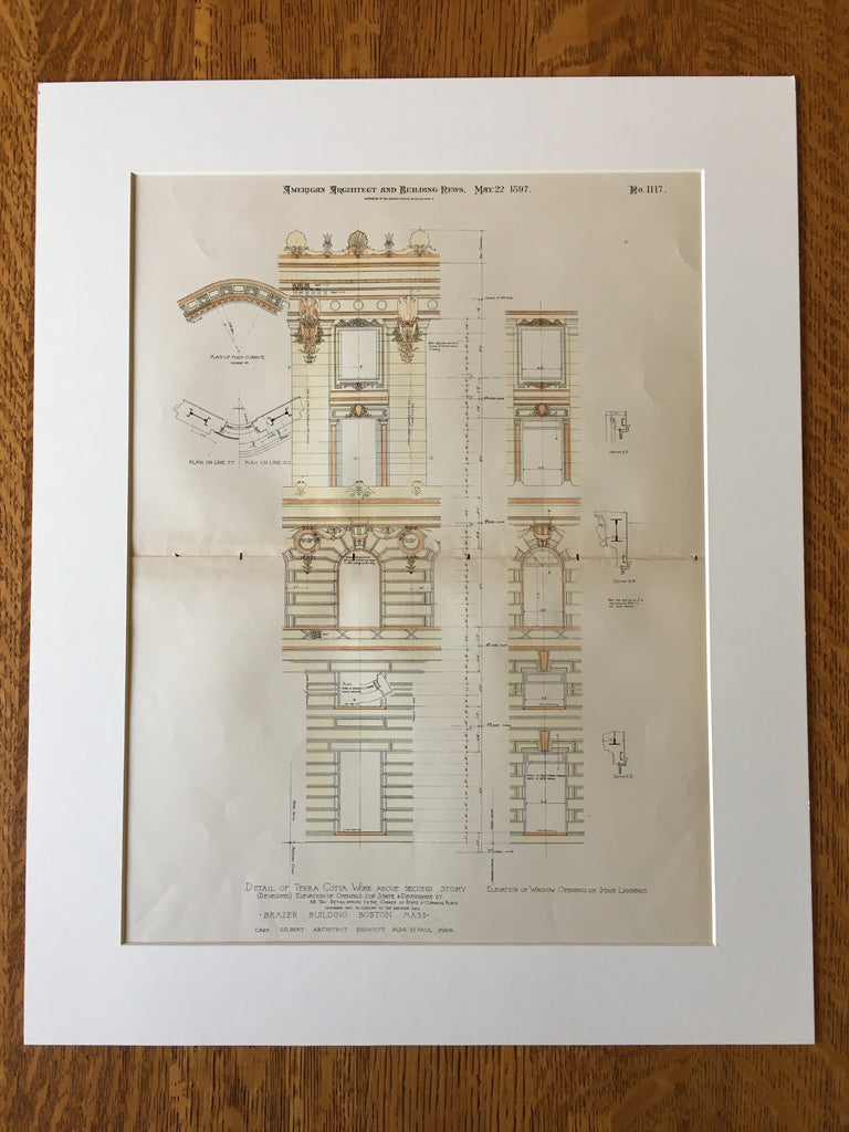 Brazer Building, Boston, MA, 1897, Cass Gilbert, Original, Hand Colored
