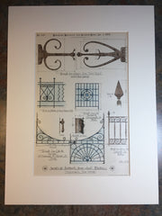Ironwork, Commonwealth Ave & Harvard Boston, MA, 1884, Original Hand Colored
