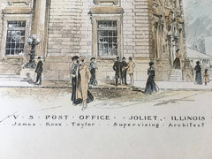 US Post Office, Joliet, IL, 1901, James Knox Taylor, Original Hand Colored -