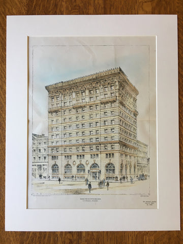 Office Building by C H Blackall, 1901, Hand Colored Original -