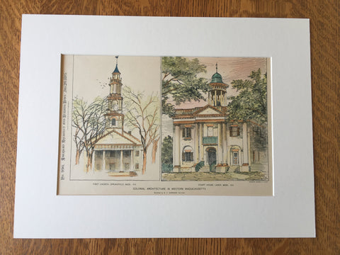 First Church, Springfield, MA & Court House, Lenox, MA, 1895, Original Hand Colored