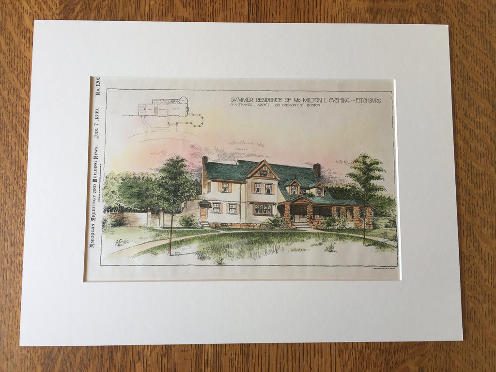 Summer Residence, Milton Cushing, Fitchburg, MA, 1899, Original Hand Colored