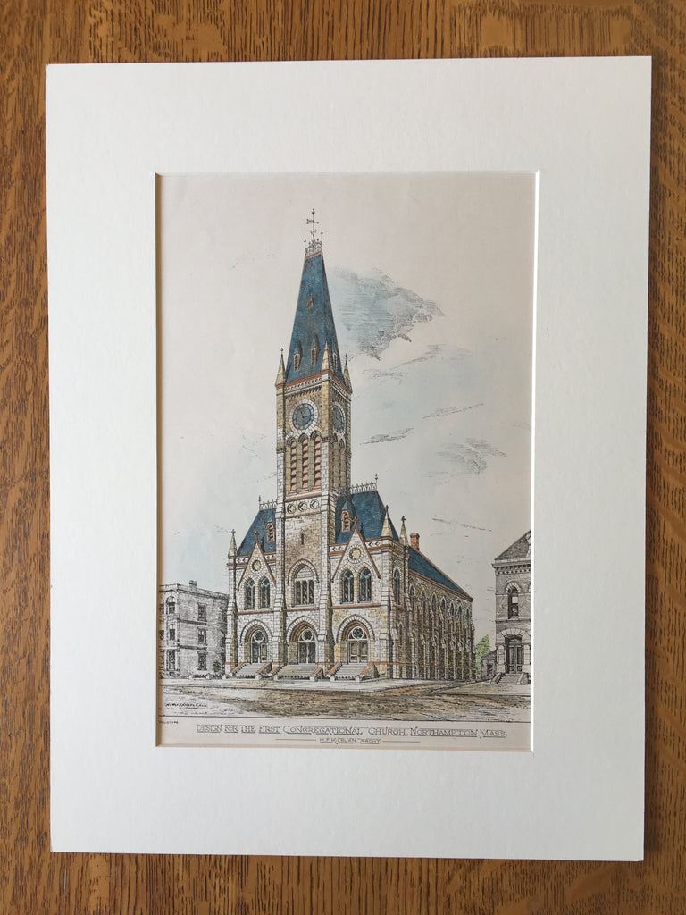 First Congregational Church, Northampton, MA, 1877, Original Hand Colored