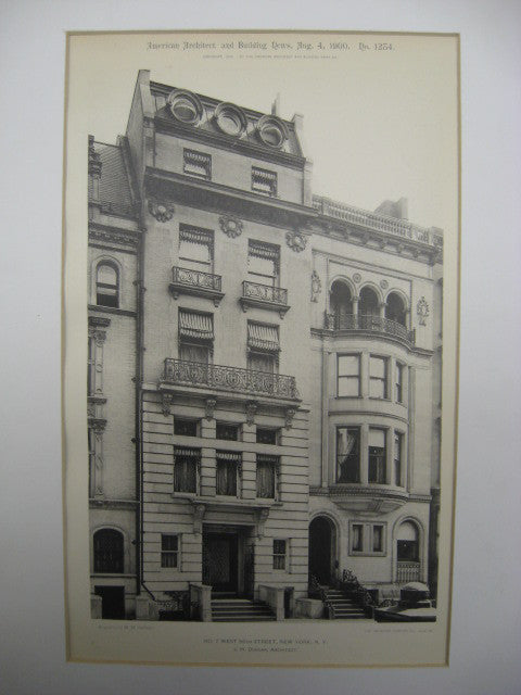 Number 7 on West 56th Street, New York, NY, 1900, J. H. Duncan