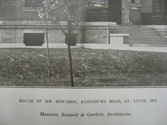 House of Mr. Edwards on Kingsbury Road, St. Louis, MO, 1907, Mauran, Russell and Garden
