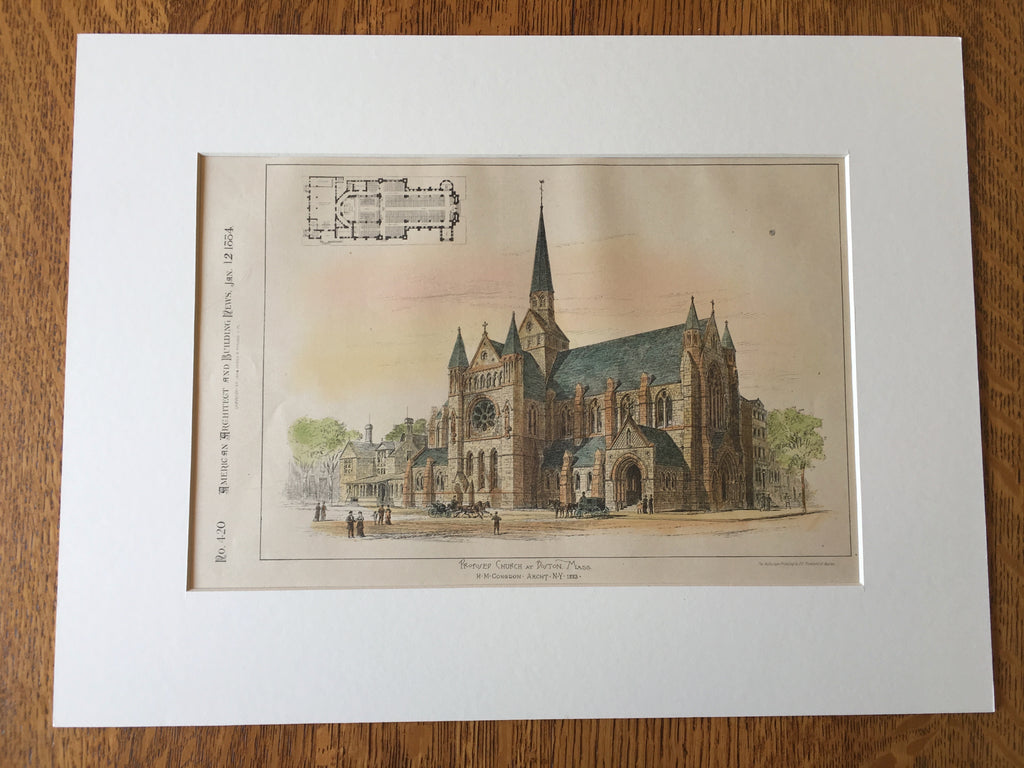 Church, Boston, MA, 1884, H M Congdon, Original Hand Colored