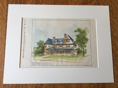 House, W R Cordingly, Chestnut Hill, MA, 1895, Chapman & Frazer, Original Hand Colored