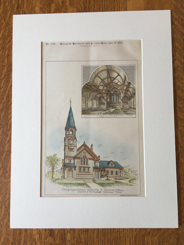 Congregational Church, Norton, MA, 1884, Stephen C Earle, Original Hand Colored