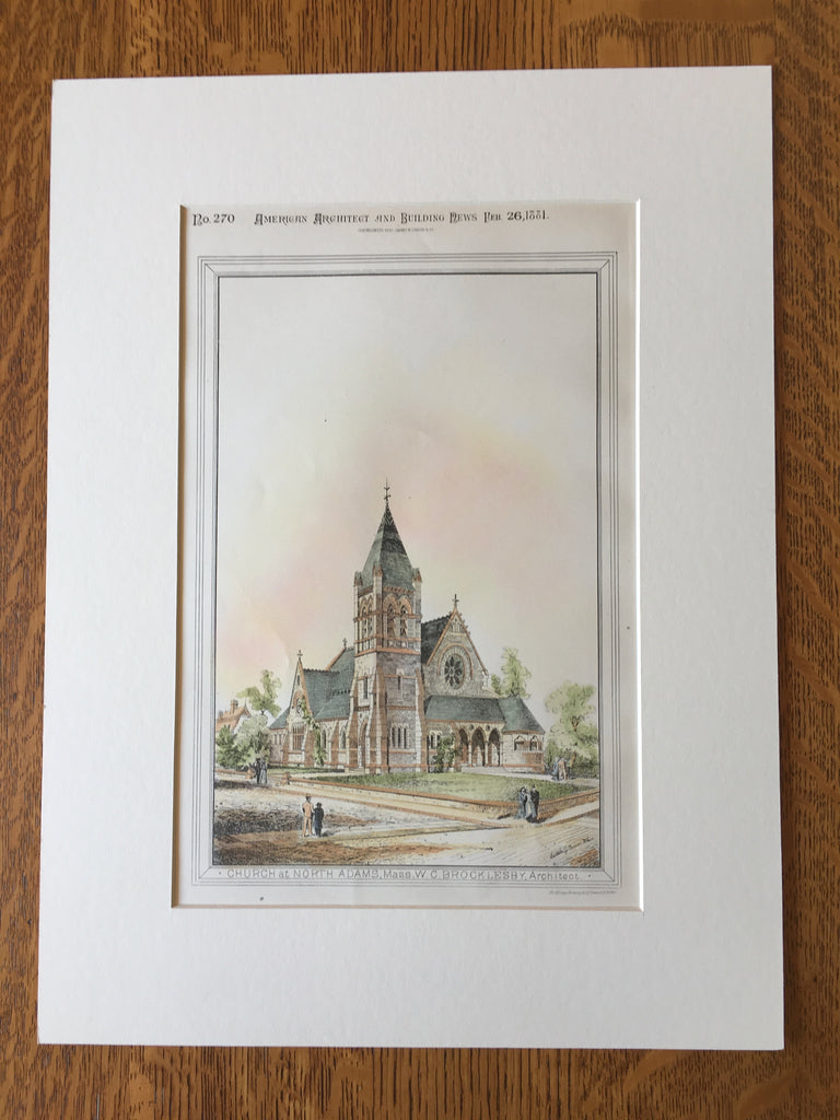 Church, North Adams, MA, 1881, W C Brocklesby, Original Hand Colored