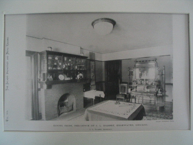 Dining Room at the Residence of J. L. Silsbee at Edgewater, Chicago, IL, 1889, J. L. Silsbee