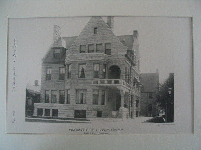 Residence of W. C. Goudy, Chicago, IL, 1889, Treat and Foltz