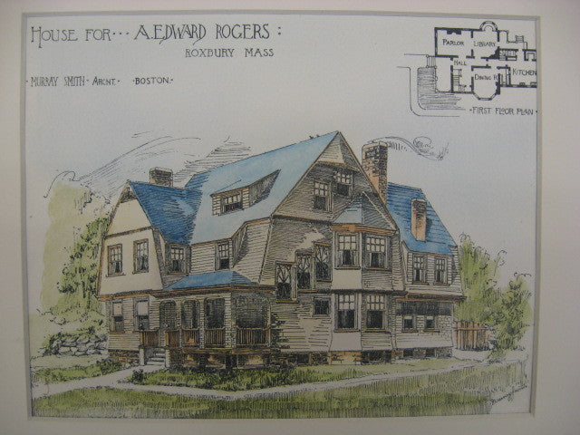 House for A. Edward Rogers, Roxbury, MA, 1888, Murray Smith