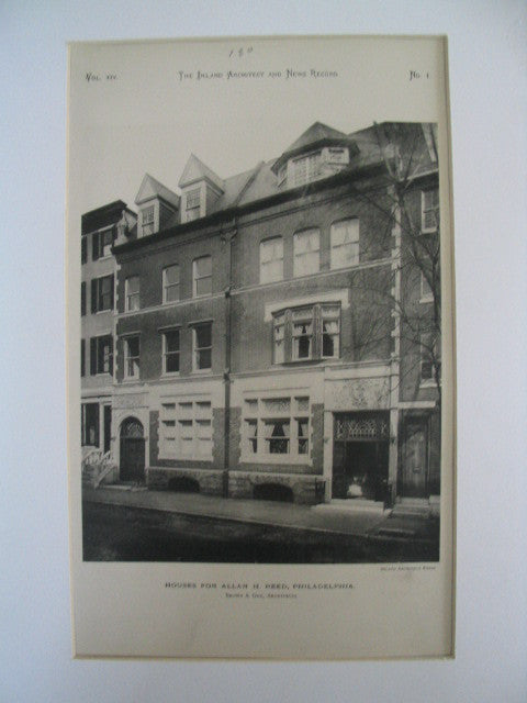 Houses for Allan H. Reed, Philadelphia, PA, 1889, Brown and Day