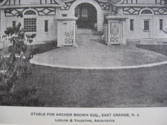 Stable for Archer Brown, East Orange, NJ, 1901, Ludlow & Valentine