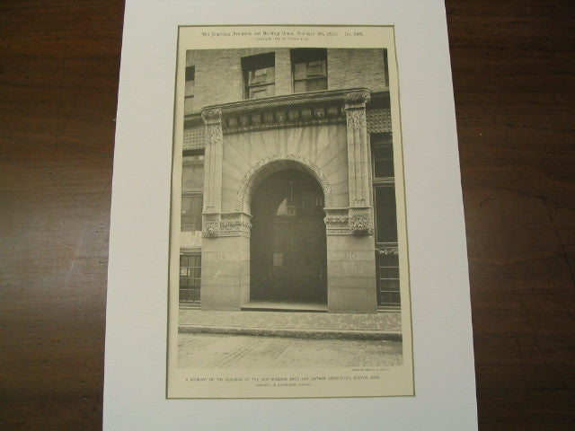 A Doorway of the Building of the New England Shoe and Leather Association, Boston, MA, 1892, Hartwell and Richardson