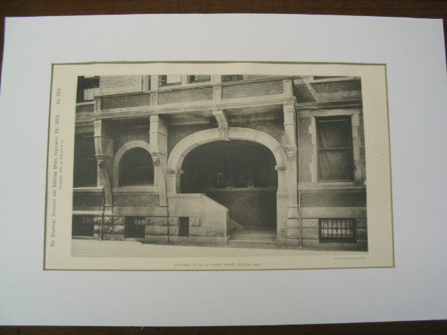 Entrance to No. 25 Exeter St., Boston, MA, 1892, Peabody and Stearns