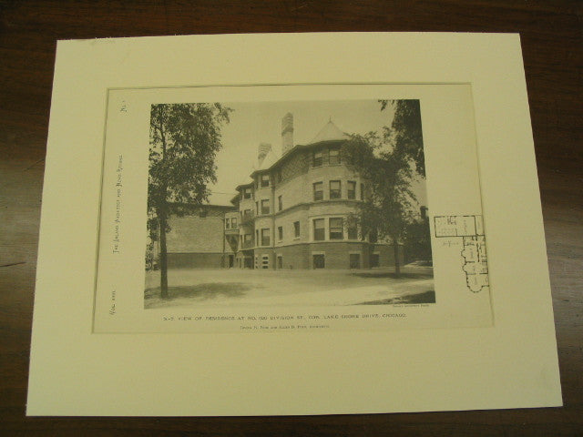 SE View of Residence at No. 620 Division St., Cor. Lake Shore Drive, Chicago, IL, 1890, Pond & Pond