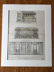 District Government Building, Washington DC, 1903, Hand Colored Original -