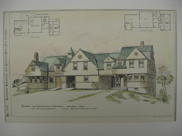 Stable and Coachman's Cottage, for Thomas Proctor Beverly, MA, 1886, Hartwell and Richardson