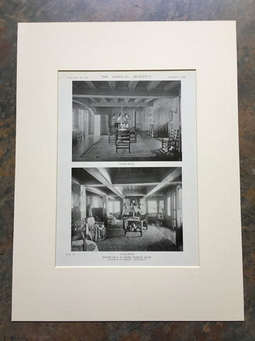 A W Bliss House, Interior, Marion, MA, 1919, Lithograph. Coolidge & Carlson